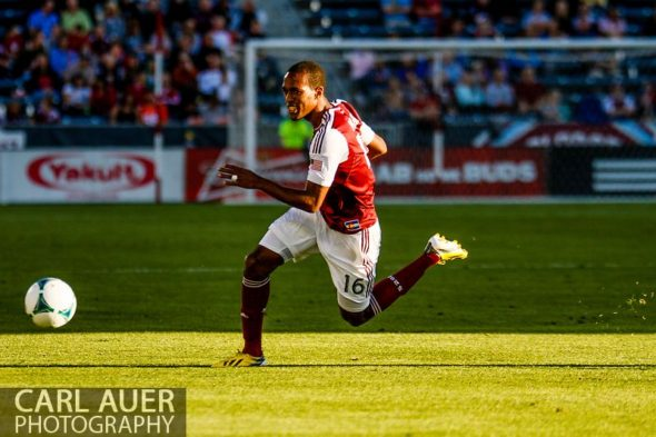 June 1st, 2013 - Colorado Rapids midfielder Atiba Harris (16) chases after a pass in the first half of action in the MLS match between FC Dallas and the Colorado Rapids at Dick's Sporting Goods Park in Commerce City, CO