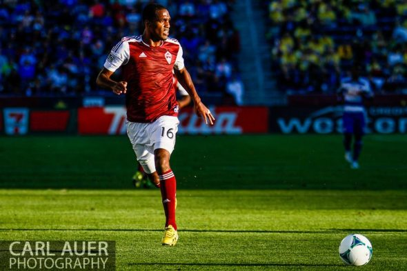 June 1st, 2013 - Colorado Rapids midfielder Atiba Harris (16) brings the ball up the field in the first half of action in the MLS match between FC Dallas and the Colorado Rapids at Dick's Sporting Goods Park in Commerce City, CO