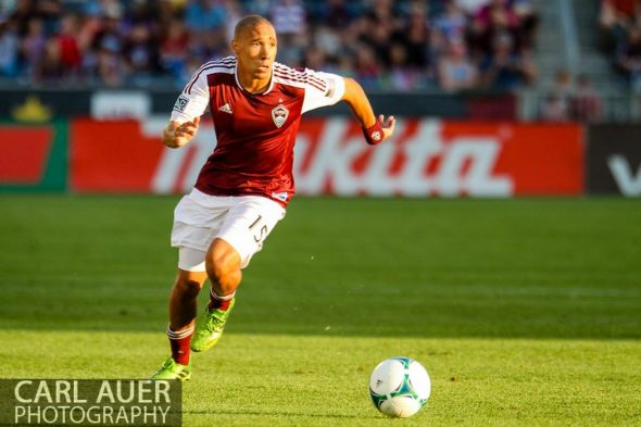 June 15th, 2013 - Colorado Rapids defender Chris Klute (15) chases after the ball in the first half of the MLS match between San Jose Earthquake and the Colorado Rapids at Dick's Sporting Goods Park in Commerce City, CO