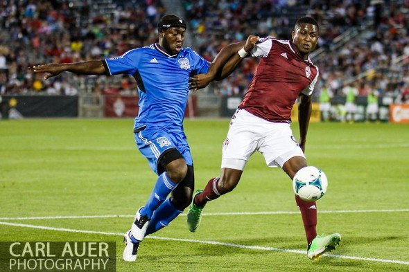 June 15th, 2013 - Colorado Rapids forward Edson Buddle (9) and San Jose Earthquake defender Nana Attakora (23) fight for control of the ball in the second half of the MLS match between San Jose Earthquake and the Colorado Rapids at Dick's Sporting Goods Park in Commerce City, CO