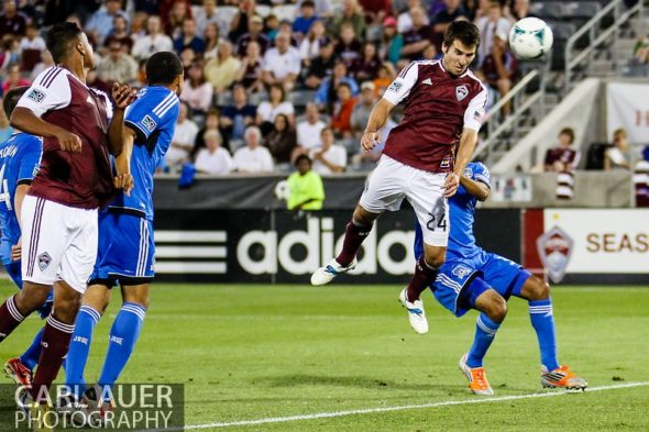 June 15th, 2013 - Colorado Rapids midfielder Nathan Sturgis (24) heads a pass into the net for a goal in the second half of the MLS match between San Jose Earthquake and the Colorado Rapids at Dick's Sporting Goods Park in Commerce City, CO