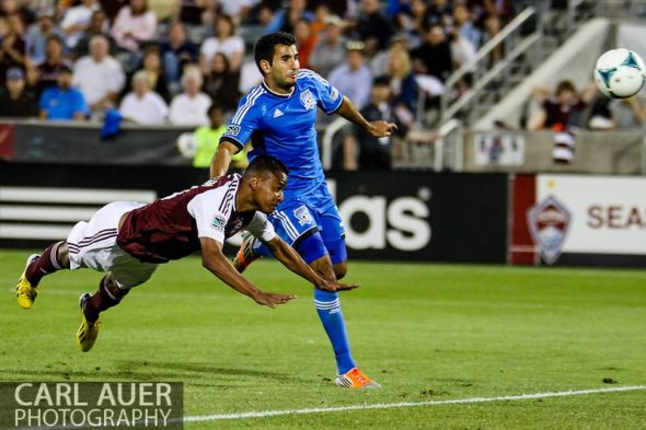 June 15th, 2013 - Colorado Rapids midfielder Jaime Castrillon (23) makes a diving header attempt in the second half of action in the MLS match between San Jose Earthquake and the Colorado Rapids at Dick's Sporting Goods Park in Commerce City, CO