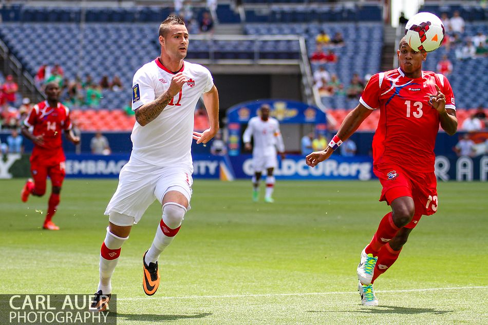 July 14 2013:  Canada Forward Marcus Haber (11) and Panama Defender Jean Carlos Cedeño (13) chase after the ball in the first half of action in the CONCACAF Gold Cup soccer match between Panama and Canada at Sports Authority Field in Denver, CO. USA.