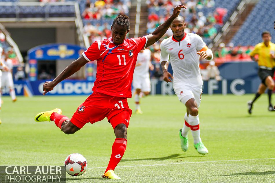 July 14 2013:  Panama Forward Cecilio Waterman (11) winds up for a shot on goal in the second half of the CONCACAF Gold Cup soccer match between Panama and Canada at Sports Authority Field in Denver, CO. USA.