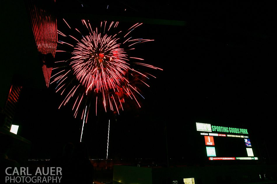 July 4th, 2013 - Post game fireworks show after the Colorado Rapids defeated the New York Red Bulls 2-0 in the Major League Soccer match at Dick's Sporting Goods Park in Commerce City, CO