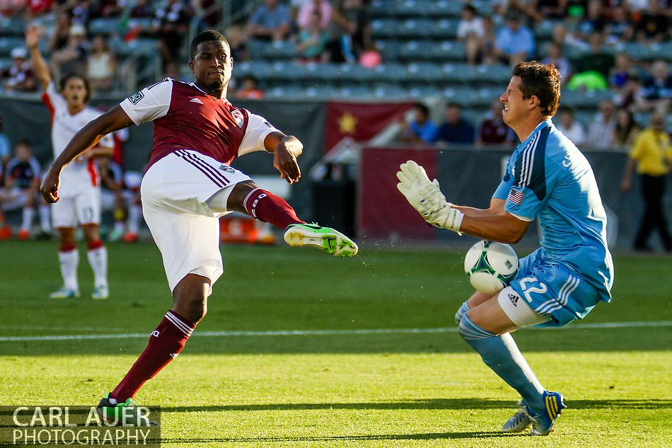 July 17th, 2013 - New England Revolution goalkeeper Bobby Shuttleworth (22) stops a point blank shot from Colorado Rapids forward Edson Buddle (9) in the second half of action in the Major League Soccer match between the New England Revolution and the Colorado Rapids at Dick's Sporting Goods Park in Commerce City, CO
