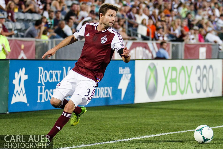 July 17th, 2013 - Colorado Rapids defender Drew Moor (3) collects the ball before it goes out of bound in the second half of the Major League Soccer match between the New England Revolution and the Colorado Rapids at Dick's Sporting Goods Park in Commerce City, CO