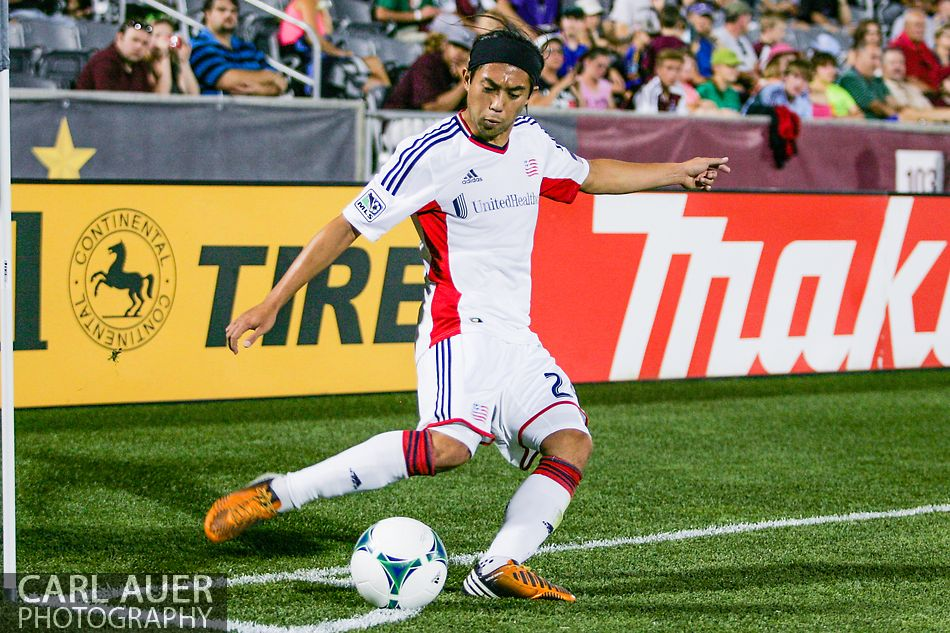 July 17th, 2013 - New England Revolution midfielder Lee Nguyen (24) takes a corner kick in the second half of the Major League Soccer match between the New England Revolution and the Colorado Rapids at Dick's Sporting Goods Park in Commerce City, CO