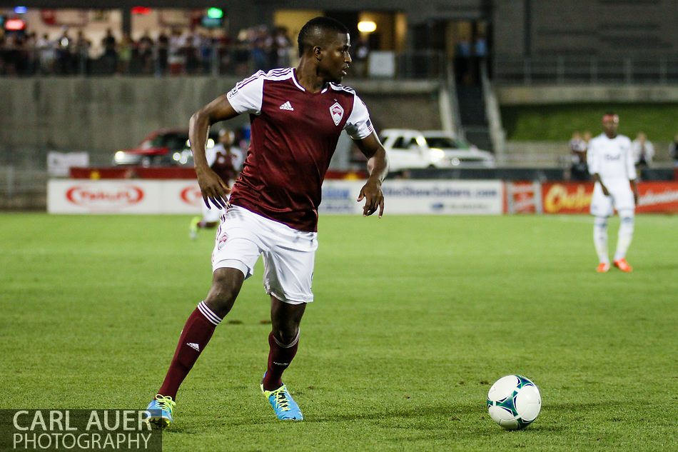 August 17th, 2013 - Colorado Rapids forward Edson Buddle (9) lines up for a shot that would give the Rapids a 2-0 lead in the second half of action in the Major League Soccer match between the Vancouver Whitecaps FC and the Colorado Rapids at Dick's Sporting Goods Park in Commerce City, CO