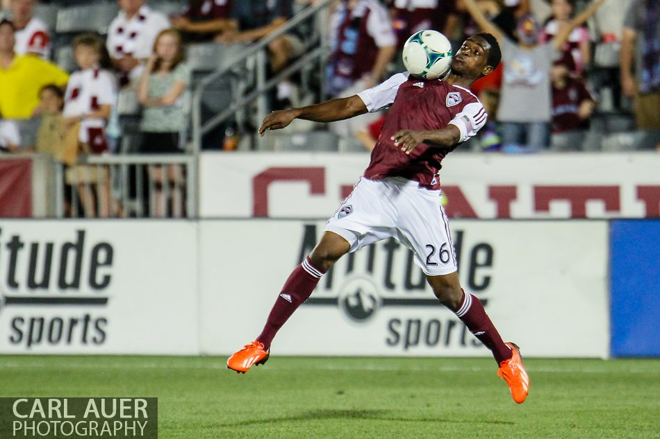 August 17th, 2013 - Colorado Rapids forward Deshorn Brown (26) elevates to collect a pass in the second half of the Major League Soccer match between the Vancouver Whitecaps FC and the Colorado Rapids at Dick's Sporting Goods Park in Commerce City, CO