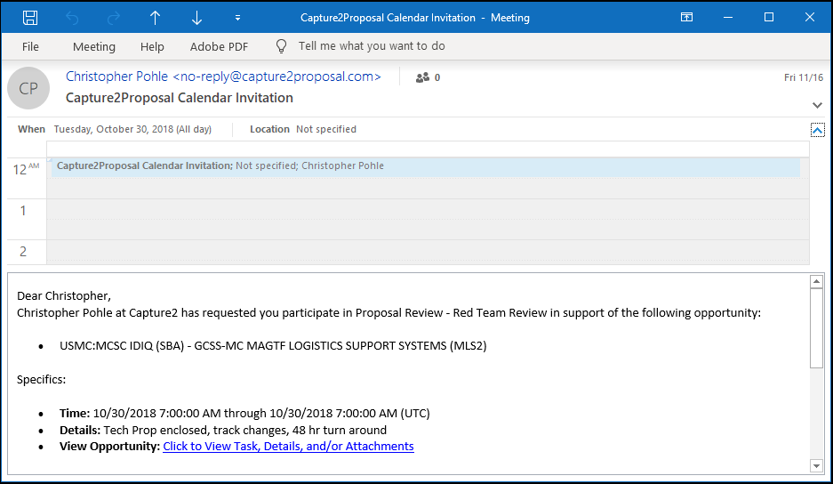 Manage Projects Efficiently Through Capture, Proposal, and Review Team Calander Invites in Google or Outlook.