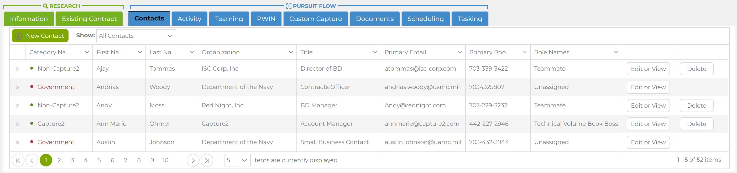 Example of Capture2Proposal's Comprehensive Contact Manager for Improved Business Communication