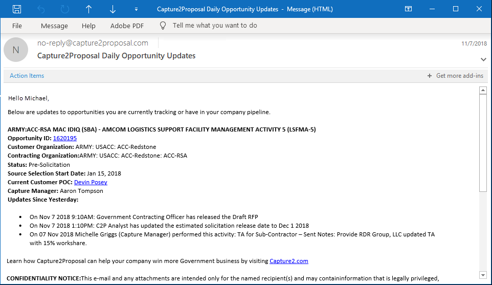 Receive Consistent Opportunity & Government Updates Through Capture2's Notifications Feature.