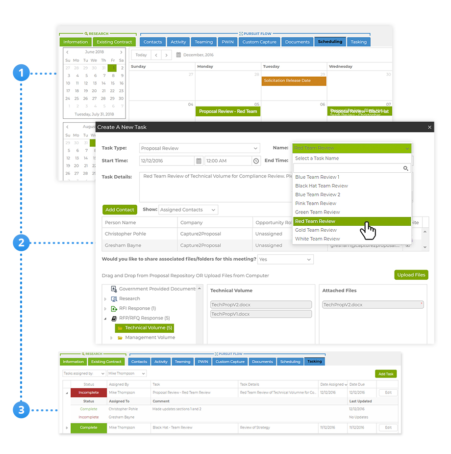 Manage Proposal Schedules, Data Calls, Taskers & Collaborate with Teammates