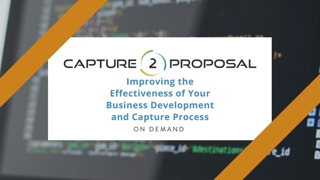 Improving the Effectiveness of Your Business Development and Capture Process – Watch Now!