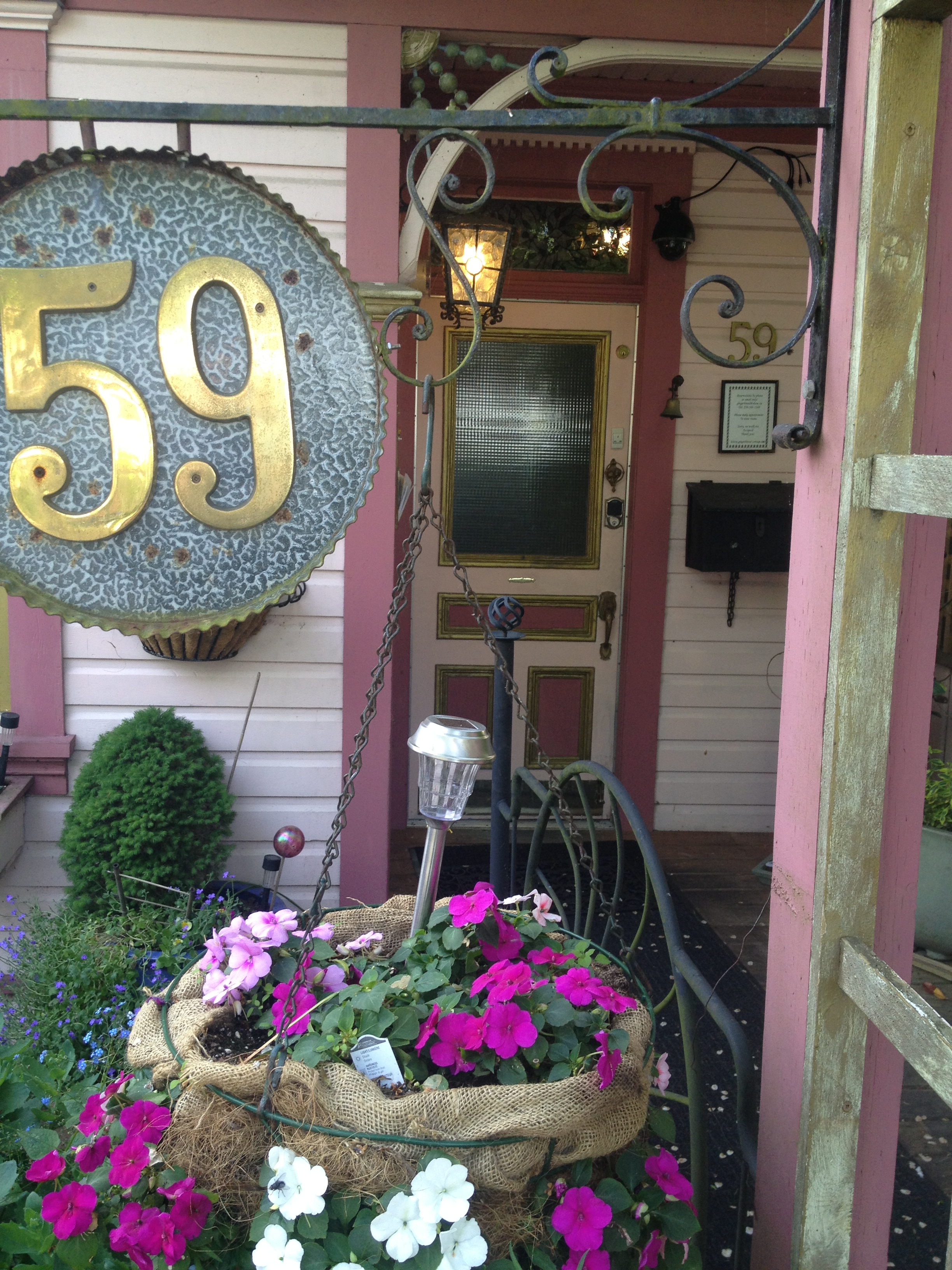 Lobby Door ate the Gingerbread Cottage Bed and Breakfast Victoria BC