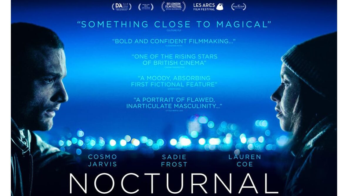 "Nocturnal film poster with quotes from reviews that say ""something close to magical,"" ""bold and confident filmmaking,"" ""one of the rising stars of British cinema,"" ""a moody, absorbing first fictional feature,"" ""a portrait of flawed, inarticulate masculinity."""
