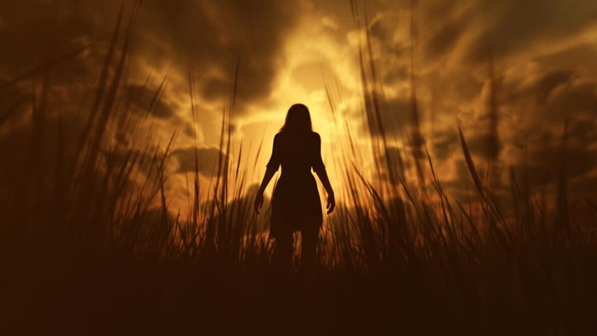 Silhouette of a women in a field with a golden haze behind her