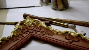 Rich and Davis water-gilt frame restoration burnished 23K gold highlights