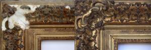 Rich and Davis antique frame restoration example of damaged ornate corner