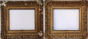 Rich and Davis antique picture frame with damaged ornamentation before and after restoration
