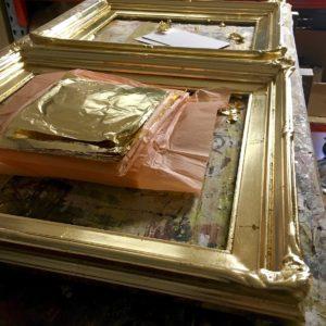 Dutch metal gilding on 2 custom ornamental frames Melbourne