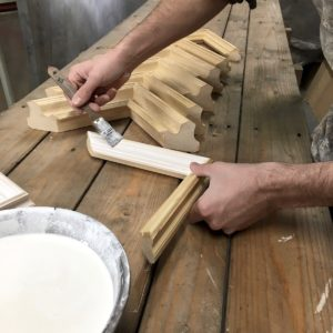 Rich and Davis Melbourne picture frame makers gesso application on frame samples