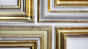 Rich and Davis gilded gold picture frames with burnishing and white clay bole