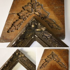 Rich and Davis antique boxwood mould corner ornament acorn and leaf