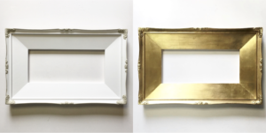 gold ornamental picture frame with slip antique