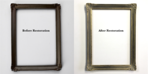 Picture Frame restoration before and after of thin ornamental frame