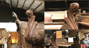 Melbourne furniture restoration services Cheltenham and Seaford carved top ornament repair on wardrobe