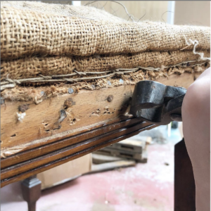 Melbourne furniture restoration services Cheltenham and Seaford chair upholstery removing nails