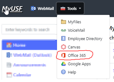 Tools showing Office 365