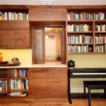 bookcase, desk