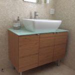 bamboo, vessel sink, vanity