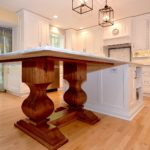 walnut pedestal base, island table