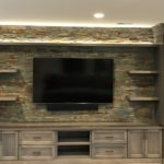 entertainment center, gray stain, tv,