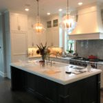 white painted, dark island, wood hood, two tier