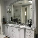 double bowl vanity, gray painted, beaded inset,