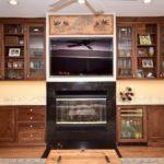 tv center, fireplace,