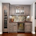 gray stained, curved mullions, bar, wine cooler