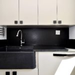 modern, contemporary, flat slab, farm sink, painted white