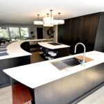 island, curved island, dark stain, modern, contemporary, flat slab