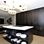 modern, contemporary, sleek, flat slab, dark stain, island, floating shelves