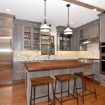 gray stained, walnut butcher block, full overlay, contemporary