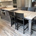 island table, square post, hickory gray