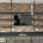 gray stained, floating shelves,