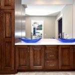 double bowl vanity, vessel sink