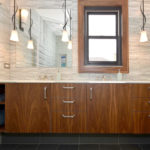 walnut, vertical grain, flat slab, double bowl vanity